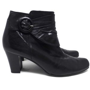 Paul Green Buckle Square Toe Ankle Bootie Boot